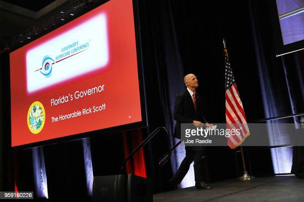 Florida Governor Rick Scott arrives to speak during the Governor's Hurricane Conference at Palm Beach County Convention Center on May 16 2018 in West...
