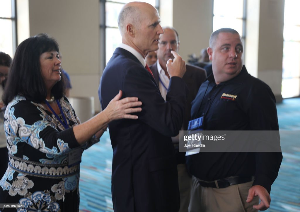 Florida Governor Rick Scott attends the Governor's Hurricane Conference at Palm Beach County Convention Center on May 16, 2018 in West Palm Beach, Florida. Following a busy 2017 hurricane season the governor urged people to be prepared for the start of the season that begins June 1st and ends November 30th.