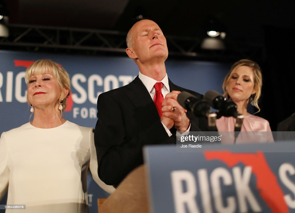 Florida Senate Candidate Rick Scott Attends Election Night Event In Naples : News Photo