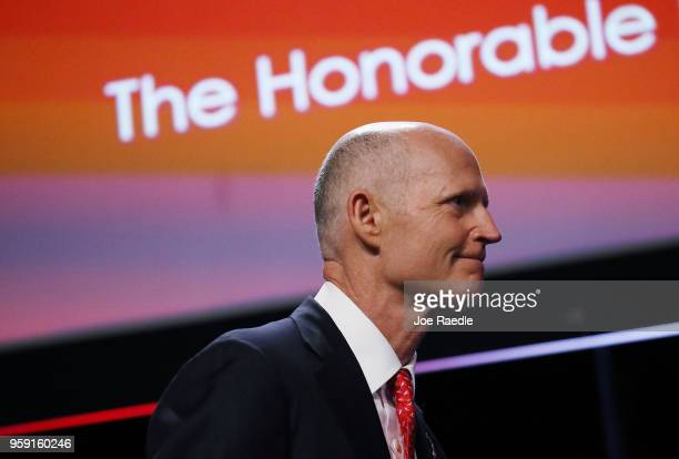 Florida Governor Rick Scott speaks during the Governor's Hurricane Conference at Palm Beach County Convention Center on May 16 2018 in West Palm...