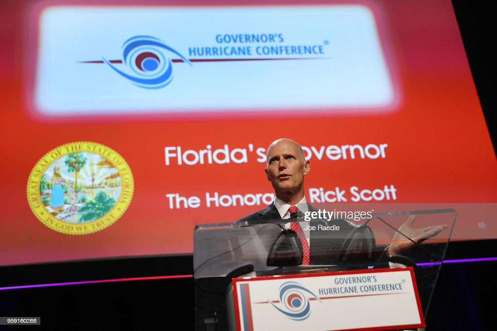 Florida Governor Rick Scott speaks during the Governor's Hurricane Conference at Palm Beach County Convention Center on May 16, 2018 in West Palm Beach, Florida. Following a busy 2017 hurricane season the governor urged people to be prepared for the start of the season that begins June 1st and ends November 30th.