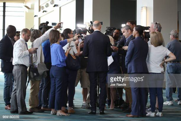 Florida Governor Rick Scott speaks to the media as he attends the Governor's Hurricane Conference at Palm Beach County Convention Center on May 16...