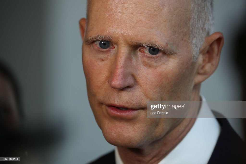 Florida Governor Rick Scott speaks to the media as he attends the Governor's Hurricane Conference at Palm Beach County Convention Center on May 16, 2018 in West Palm Beach, Florida. Following a busy 2017 hurricane season the governor urged people to be prepared for the start of the season that begins June 1st and ends November 30th.