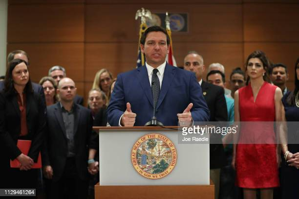 Florida Governor Ron DeSantis announces during a press conference at the Broward County Courthouse that he is ordering a statewide grand jury...