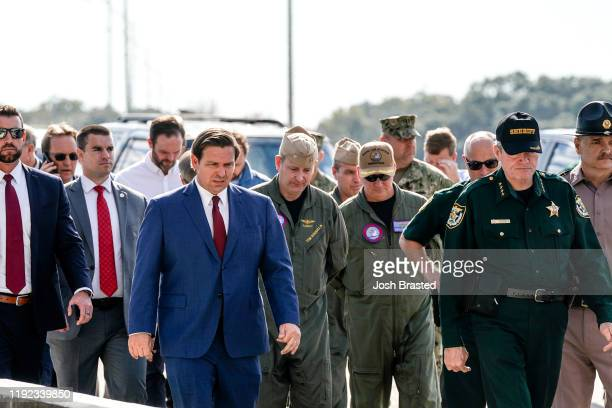Florida Governor Ron DeSantis arrives for a press conference following a shooting on the Pensacola Naval Air Base on December 06, 2019 in Pensacola,...