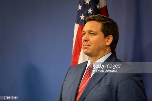 Florida Governor Ron DeSantis is seen during a press conference relating hurricane season updates at the Miami-Dade Emergency Operations Center on...