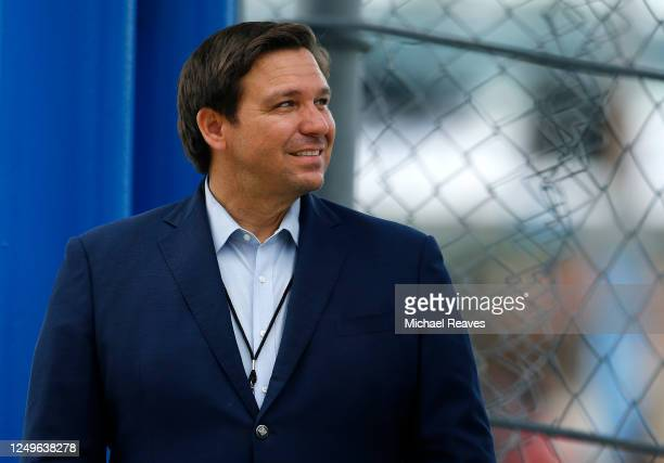 Florida Governor Ron DeSantis looks on prior to the NASCAR Cup Series Dixie Vodka 400 at Homestead-Miami Speedway on June 14, 2020 in Homestead,...