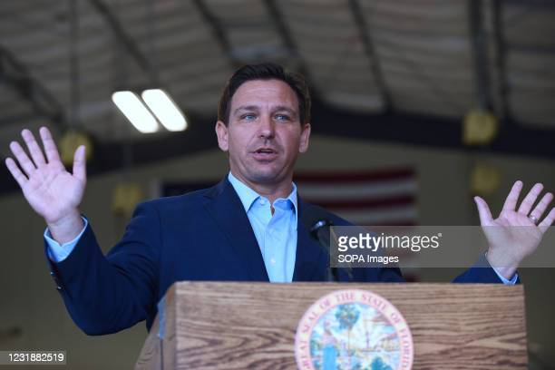 Florida Governor, Ron DeSantis speaks at a press conference at the Eau Gallie High School aviation hangar. DeSantis announced he is asking the...