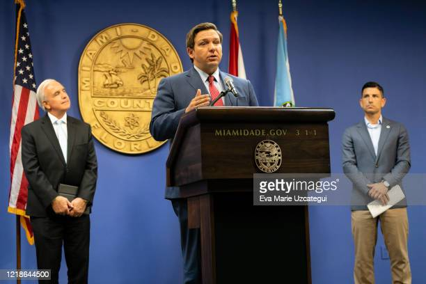 Florida Governor Ron DeSantis speaks during a press conference relating hurricane season updates at the Miami-Dade Emergency Operations Center on...