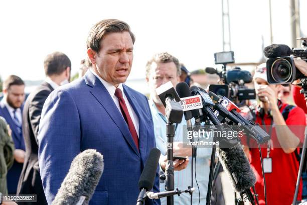 Florida Governor Ron DeSantis speaks to press following a shooting on the Pensacola Naval Air Base on December 06 2019 in Pensacola Florida The...