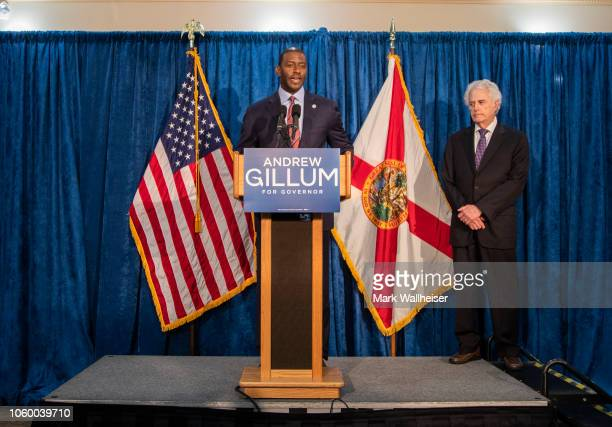 Florida gubernatorial candidate Andrew Gillum holds a press conference with his attorney Barry Richards on November 10 2018 in Tallahassee Florida...