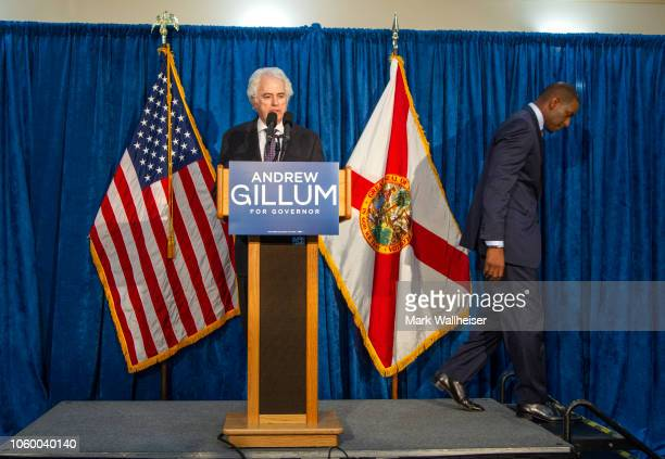 Florida gubernatorial candidate Andrew Gillum leaves the stage as he turns the microphone over to his attorney Barry Richards during a press...