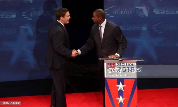 Florida gubernatorial candidates Rep Ron DeSantis left and Tallahassee Mayor Andrew Gillum during a debate at Broward College in Davie Fla on...