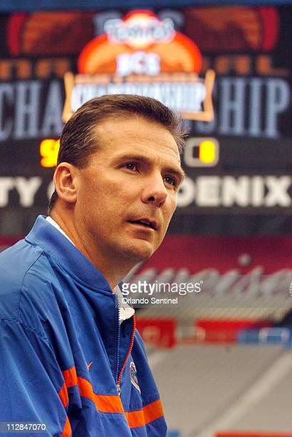 Florida head coach Urban Meyer attends the BCS Championship Bowl Game Media Day at the University of Phoenix Stadium in Phoenix Arizona Friday...