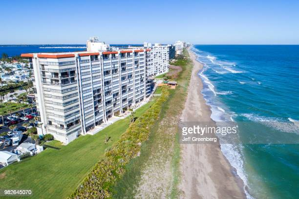 Florida, Hutchinson Island, Jensen Beach, high rise condominium buildings and Atlantic Ocean.