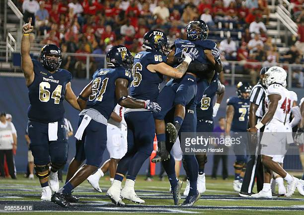 Florida International celebrates a secondquarter touchdown against Indiana at Ocean Bank Field at FIU Stadium in Miami on Thursday Sept 1 2016...