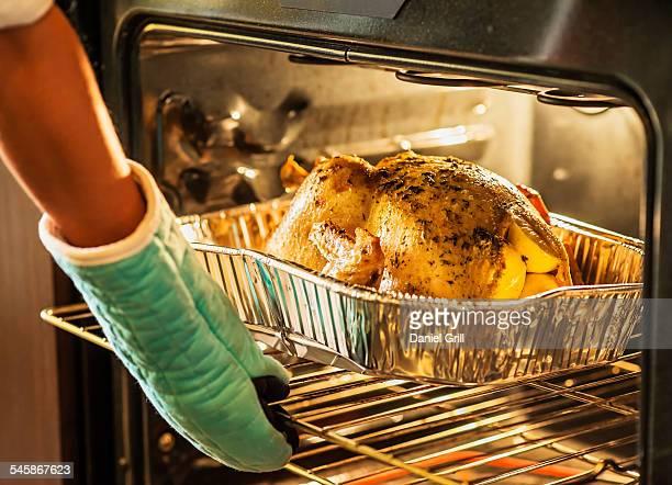 USA, Florida, Jupiter, Woman checking turkey in oven