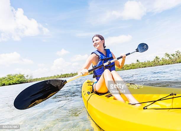USA, Florida, Jupiter, Woman kayaking