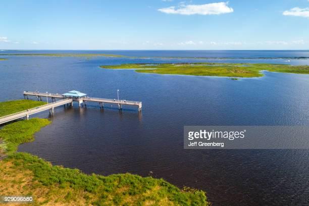 Florida Lake Okeechobee Aerial of pier