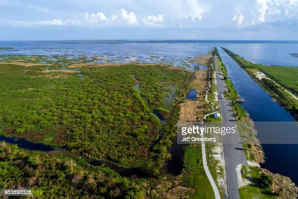 Florida Lakeport canal Lake Okeechobee levee Herbert Hoover dike aerial view