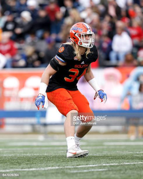 Florida Linebacker Alex Anzalone of the South Team during the 2017 Resse's Senior Bowl at LaddPeebles Stadium on January 28 2017 in Mobile Alabama...