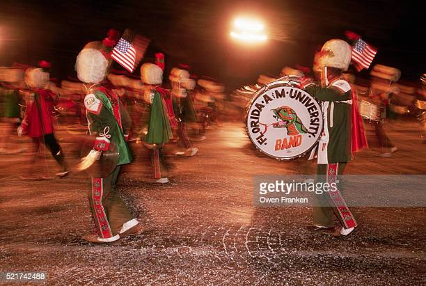 florida marching band in bastille day parade - bastille band stock pictures, royalty-free photos & images
