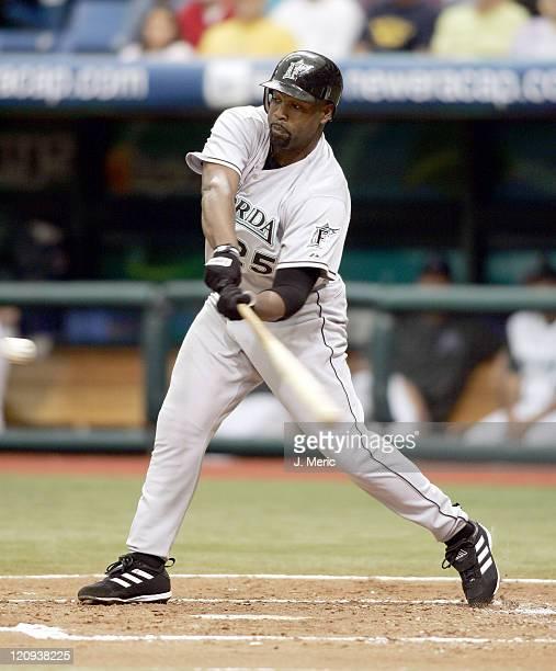 Florida Marlins first baseman Carlos Delgado tries for a hit versus Tampa Bay at Tropicana Field in St. Petersburg, FL, June 26, 2005. The Marlins...