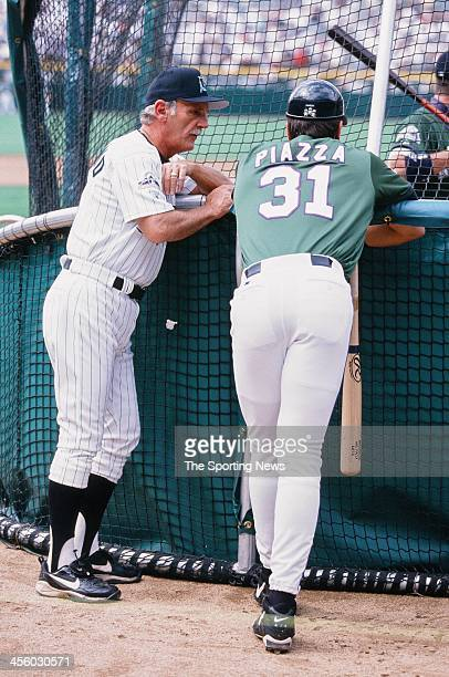 Florida Marlins manager Jim Leyland and Mike Piazza of the New York Mets during the All-Star Game on July 7, 1998 at Coors Field in Denver, Colorado.
