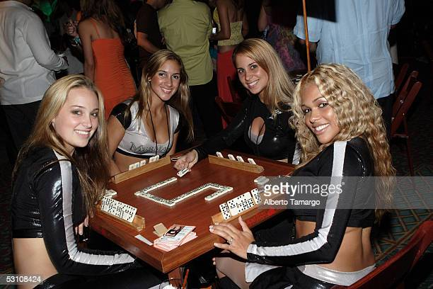 Florida Marlins Mermaids Brooke Andrea Angie and Desiree at Amigos For Kids Celebrity Domino Night at Parrot Jungle Island on June 18 2005 in Miami...