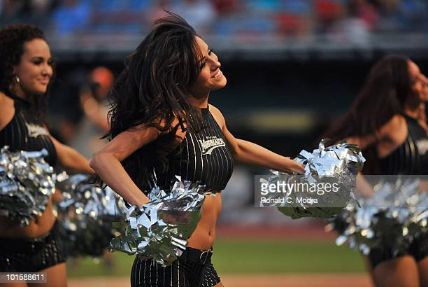 Florida Marlins Mermaids performs during a MLB game between the Florida Marlins and the Philadelphia Phillies in Sun Life Stadium on May 28 2010 in...