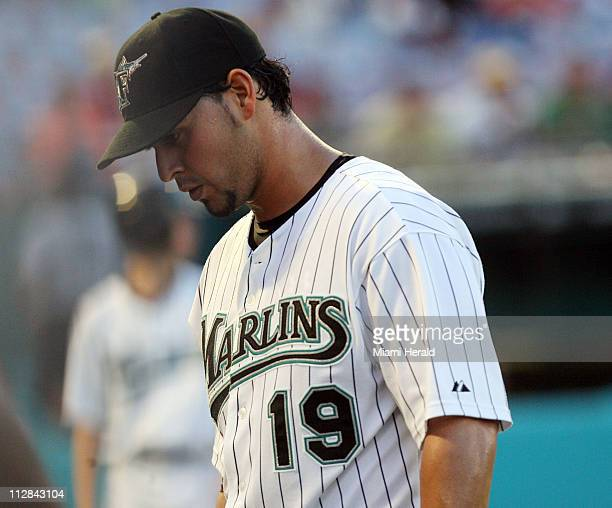 Florida Marlins pitcher Anibal Sanchez reflects on his performance against the Texas Rangers at Sun Life Stadium in Miami Florida on Wednesday June...