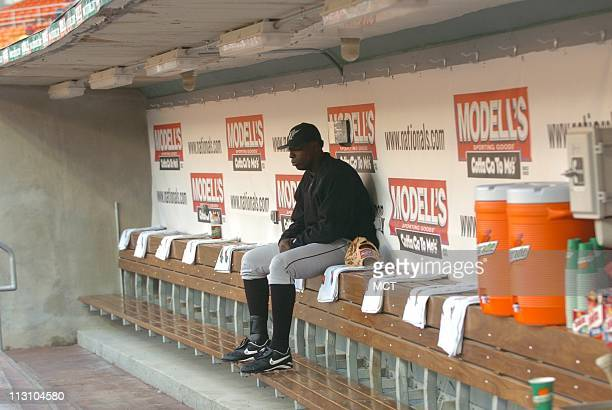 WASHINGTON DC Florida Marlins' pitcher Dontrelle Willis sits alone in the dugout before he starts against the Washington Nationals on Monday April 18...