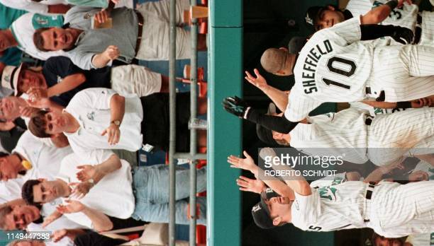 Florida Marlins player Gary Sheffield is congratulated by teammates and fans after his solo home run in the seventh inning against the San Francisco...