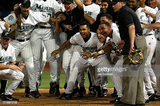 Florida Marlins prepare to mob teammate Mike Modecai after hitting walk off home run to beat the Dodgers at Pro Player Stadium Marlins won 21