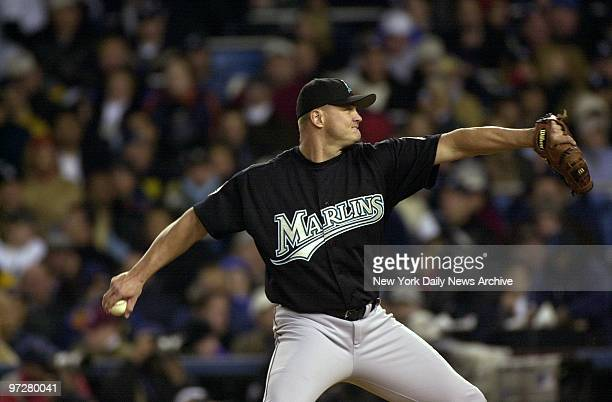 Florida Marlins' Rich Helling delivers a pitch against the New York Yankees in the fourth inning of Game 2 of the World Series at Yankee Stadium The...