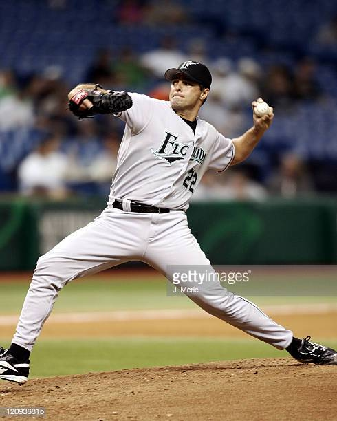 Florida Marlins starting pitcher Al Leiter makes a pitch in Friday night's game against the Tampa Bay Devil Rays at Tropicana Field in St Petersburg...