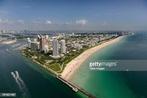 USA, Florida, Miami, Aerial view of coastal city