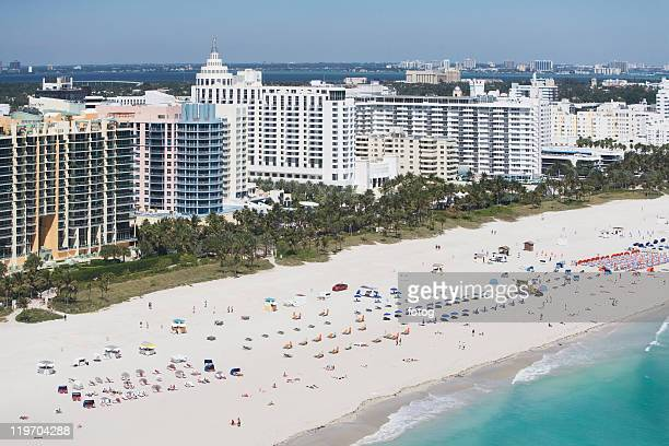 usa, florida, miami, aerial view of sandy beach - lincoln road stock pictures, royalty-free photos & images