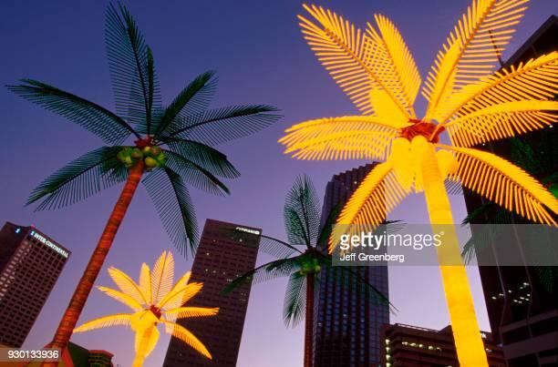 Florida Miami Bay front Park Holiday Village Christmas lighting display plastic palm trees