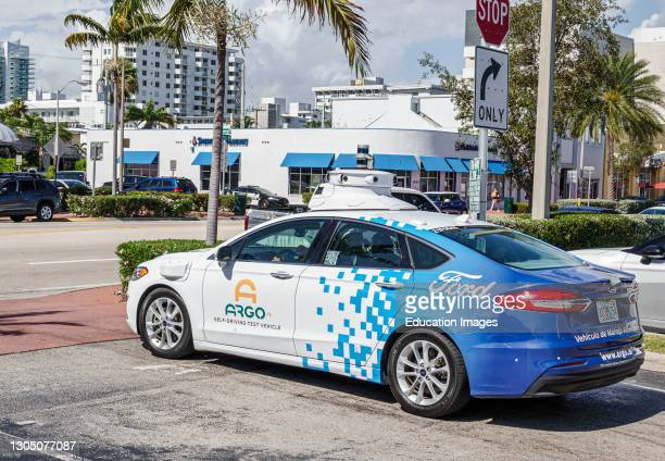 Florida, Miami Beach, ARGO self driving test vehicle by Ford.