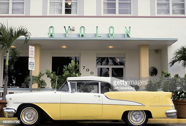 Florida Miami Beach Art Deco District Avalon Hotel 1940 And Classic Car Along Ocean Drive