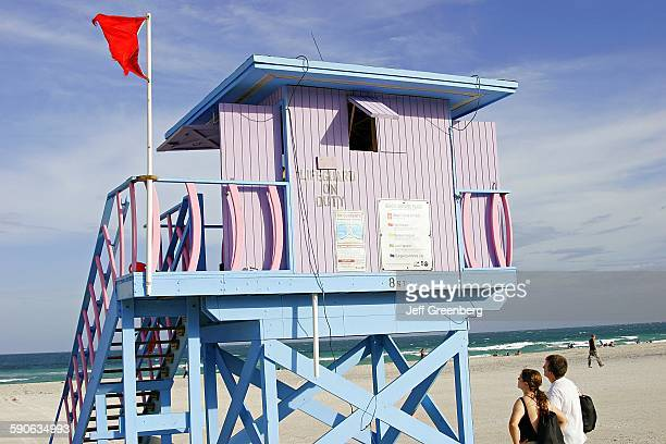 Florida Miami Beach Atlantic Ocean Lifeguard Station Red Flag High Hazard Hurricane Wilma Approaching