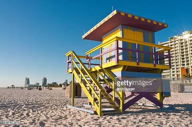 Florida Miami Beach Atlantic Ocean shore colorful lifeguard hut USA