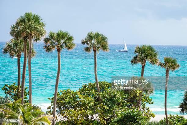 Florida, Miami Beach, Atlantic Ocean with sailboat.