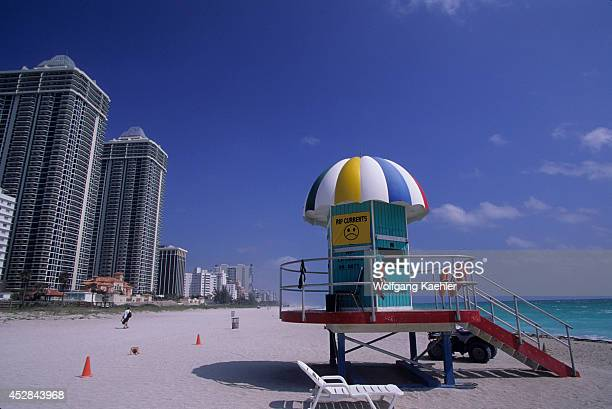 USA Florida Miami Beach Beach Scene With Lifeguard House