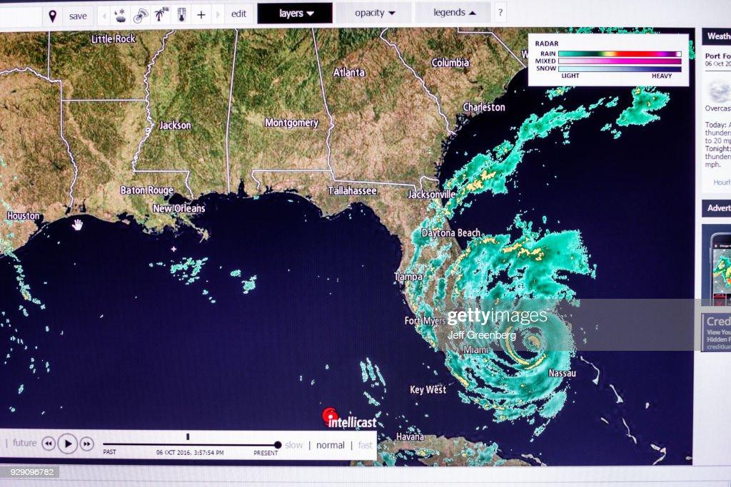 Radar Map Florida Florida, Miami Beach, Hurricane Matthew Radar Map. News Photo