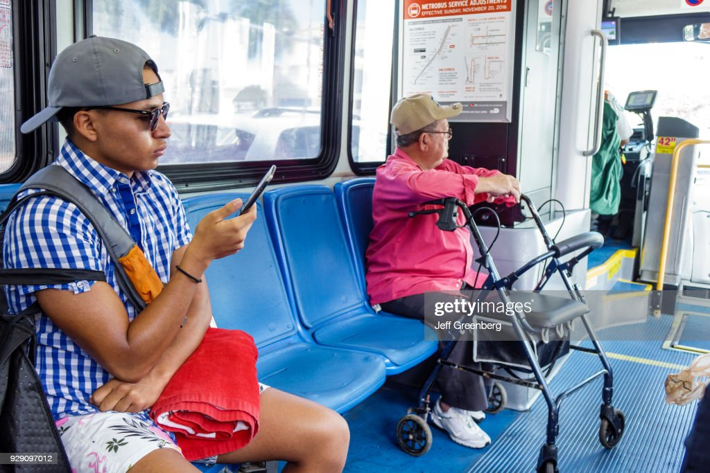 Florida, Miami Beach, Metro bus Public Transit with