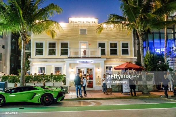 Florida Miami Beach Ocean Drive Browns Hotel at Dusk
