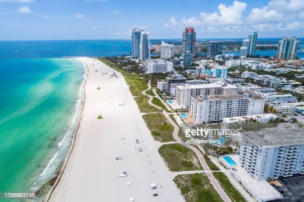 Florida, Miami Beach, South Beach, empty closed public beach due to Coronavirus Pandemic.
