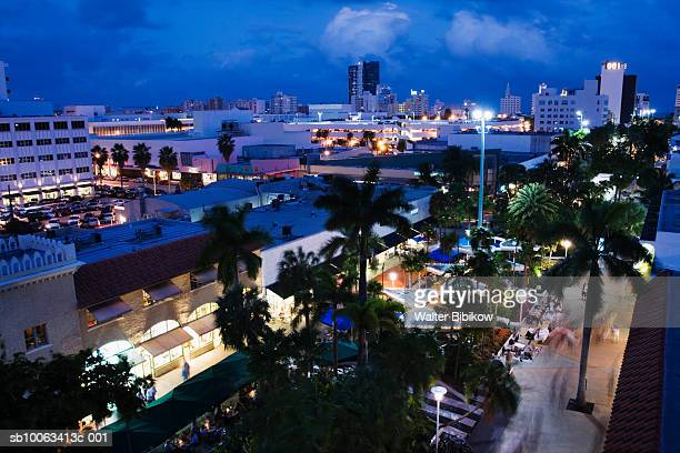 usa, florida, miami beach, south beach, lincoln road, elevated view - lincoln road stock pictures, royalty-free photos & images